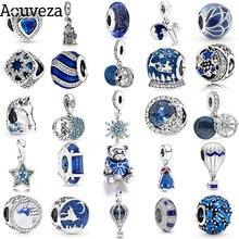 Novo azul charme céu estrelado e floco de neve diy contas caber pandora encantos originais prata 925 pulseiras para a moda feminina jóias
