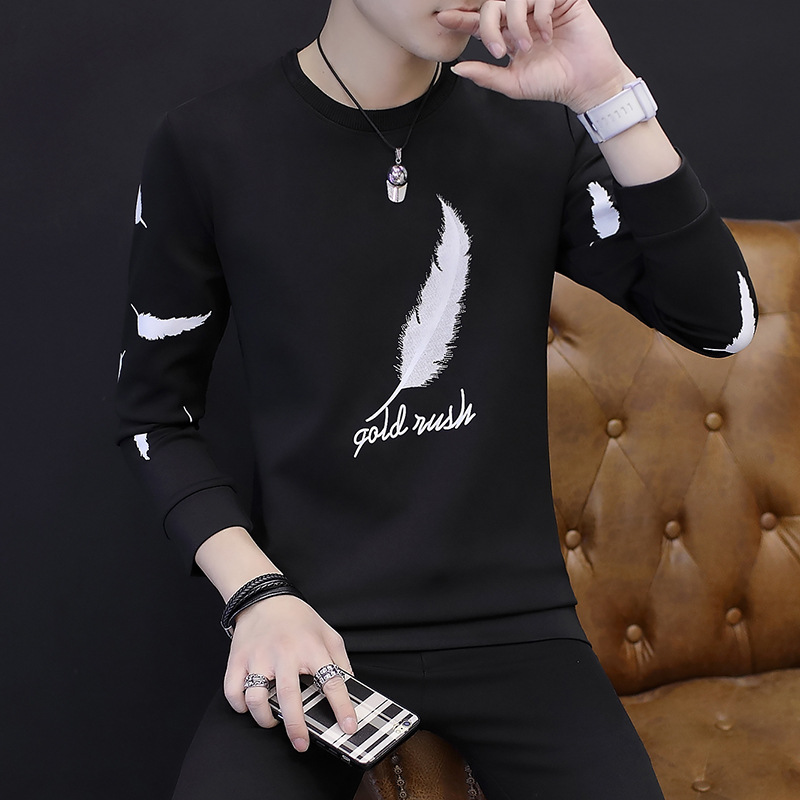 2019 Men Feather Printed Round Collar Fleece Teenagers Round Collar Thin Fleece