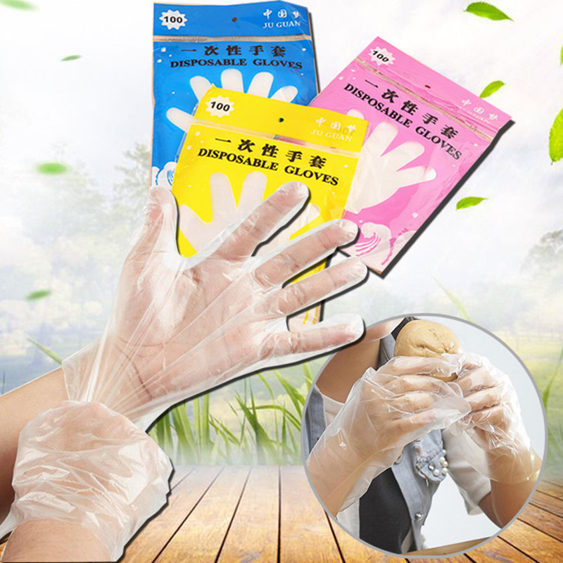100pcs/pack Industrial Medical Gloves Clear Cleaning Disposable Gloves 100 Pcs Food Service Health Care Tool