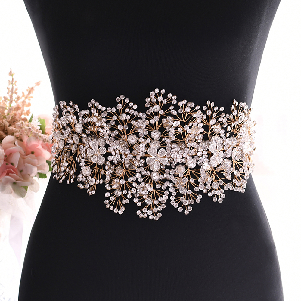 TRiXY SH240-G Stunning Wedding Belt Gold Rhinestone Belt Bridal Dress Belt Alloy Flower Belt Jeweled Belt for Wedding Accessory