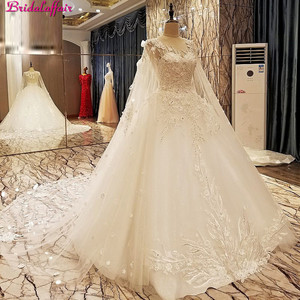 Image 2 - Real Image Luxury Wedding Dresses 2019 Vsetido De Novia With Shawl Cape Crystals Lace Beading Appliques Royal Train Bridal Gowns