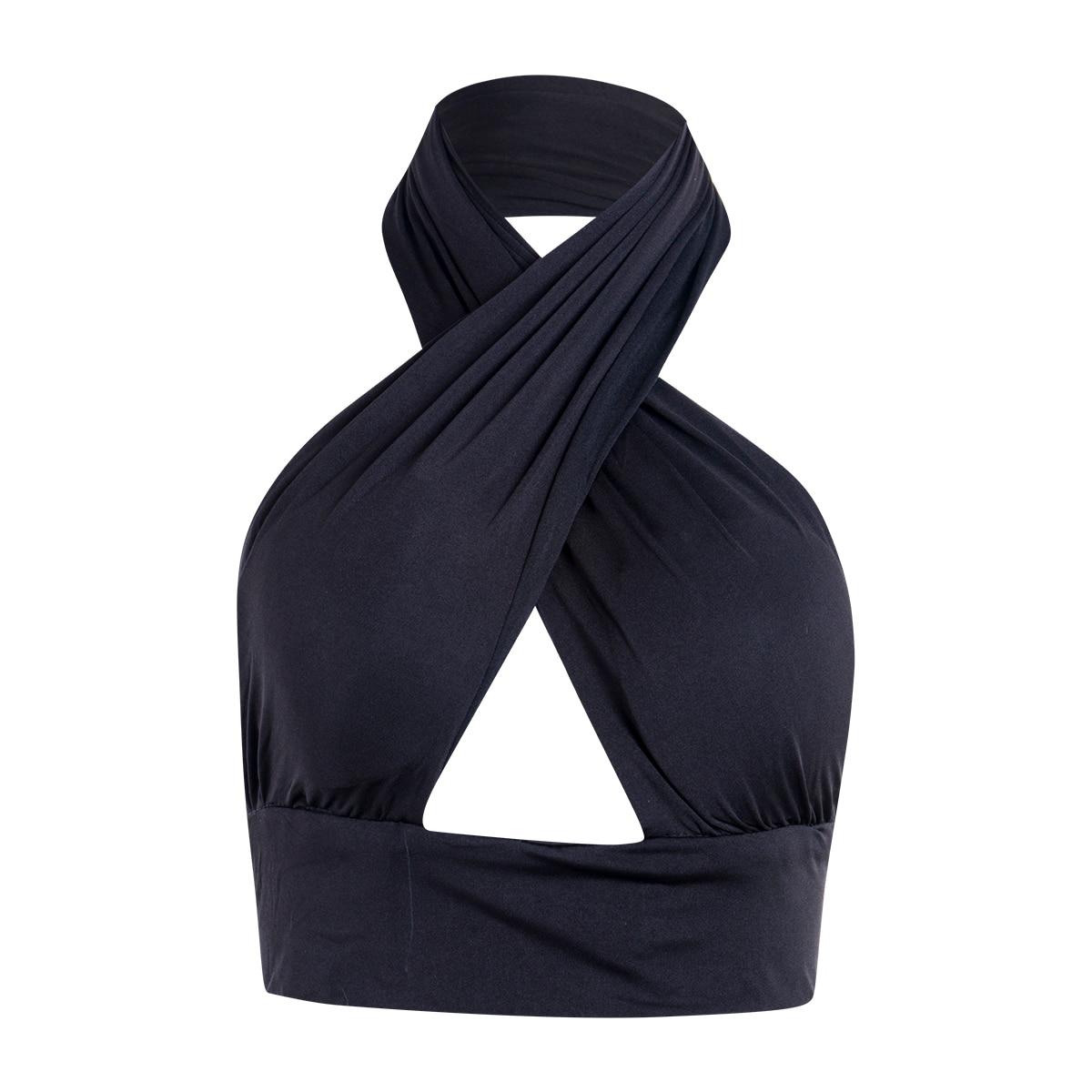 Женский топ на бретельках с перекрещивающимися передними вырезами на шее без рукавов с открытой спиной, бандажный жилет, летние сексуальны...