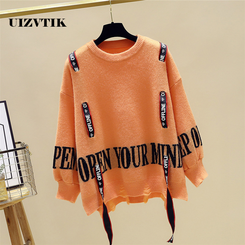 Casual Autumn Winter Knitted Sweater Women 2019 Fashion Distressed Loose Sweater Female O-Neck Casual Pullover Knitted Sweaters