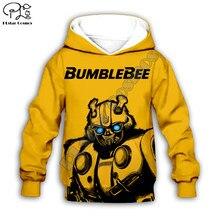 Crianças do miúdo bumblebee impressão transformação 3d hoodies jaqueta bebê menino menina pulôver dos desenhos animados de manga longa moletom agasalho 03