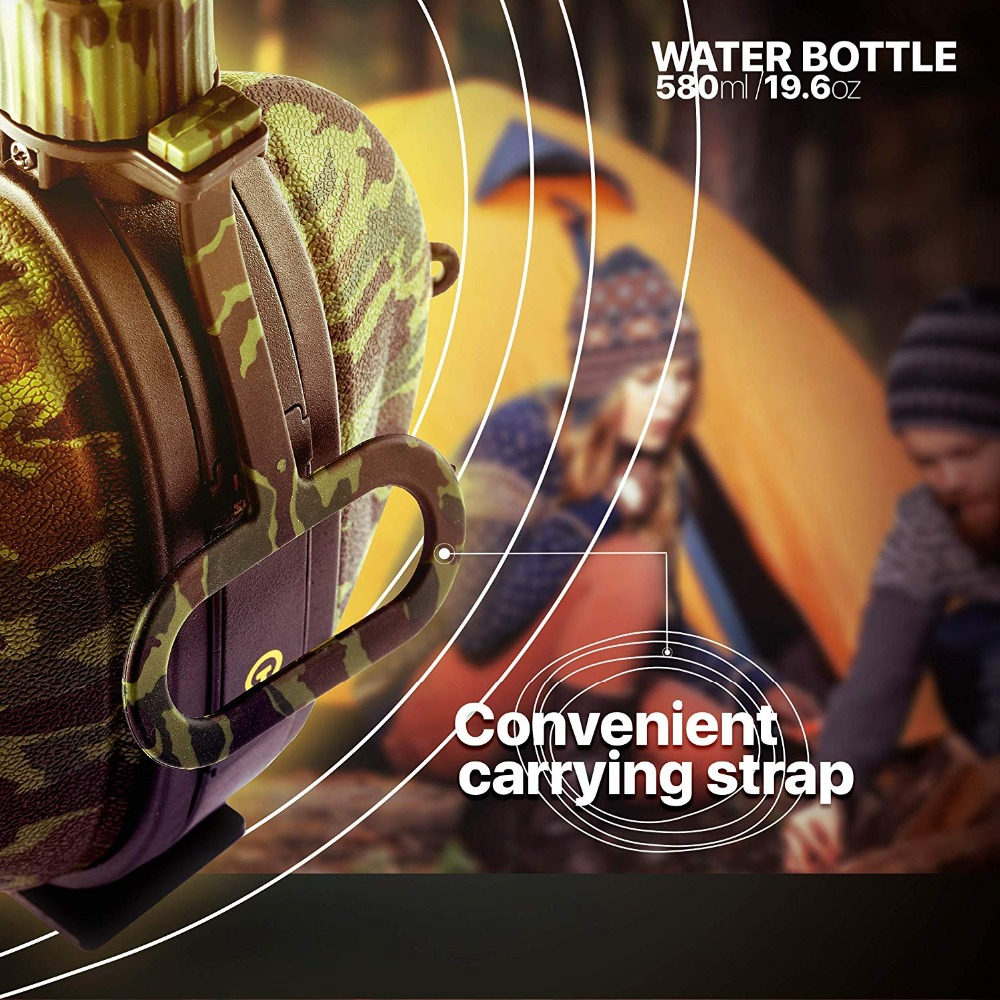 Collapsible Military Water Bottle Hiking Accessories Silicone Water Kettle Canteen with Compass Bottle Cap for Tourism Camping (2)
