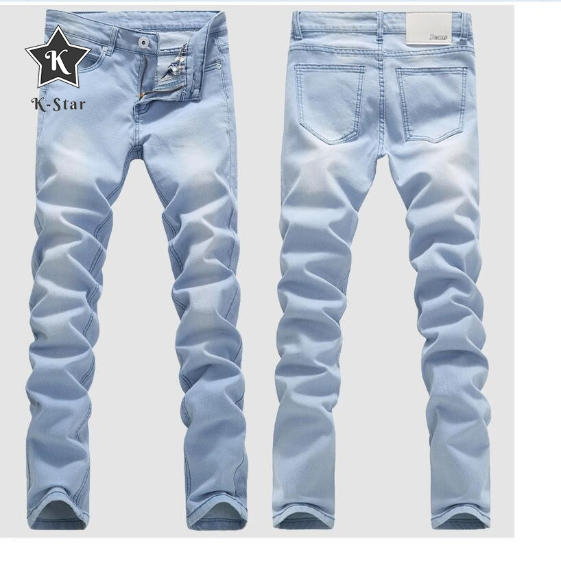 K-Star Good Quality Light Blue Skinny Jeans Men Spring Summer Slim Denim Jeans Men Cotton Elastic Denim Pants Cowboy Trousers