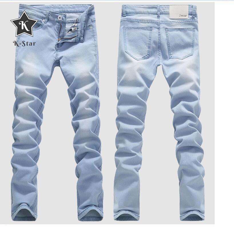 K-Star Good Quality Light Blue Skinny Jeans Men Spring Summer Slim Denim Jeans Men Cotton Elastic Denim Pants Cowboy Trousers