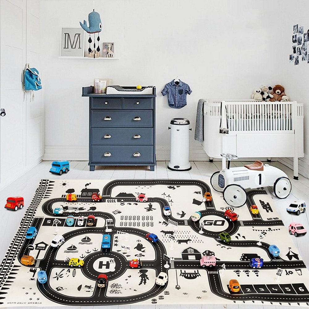130*100CM Modern Style Kids Portable Car City Scene Taffic Highway Map Play Mat Educational Toys For Children Games Road Carpet