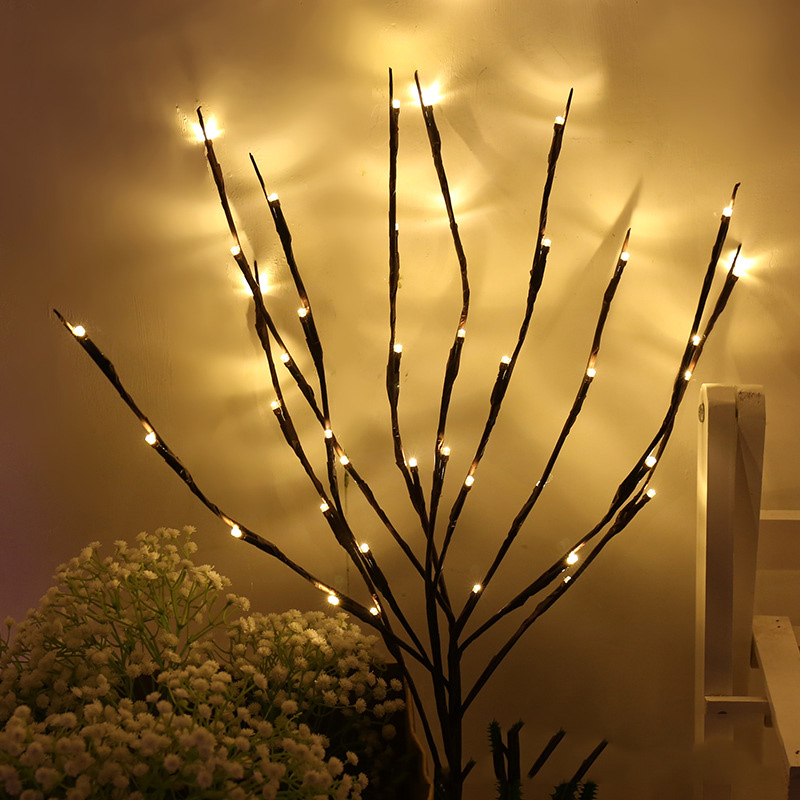 20 Bulbs LED Willow Branch Lights Lamp Natural Tall Vase Filler Willow Twig Lighted Branch Christmas Wedding Decorative Lights