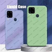 Funda de teléfono oficial para Realme, carcasa de silicona líquida de protección completa para Realme C11 C12 C15 C25 Narzo 30 4G 5G