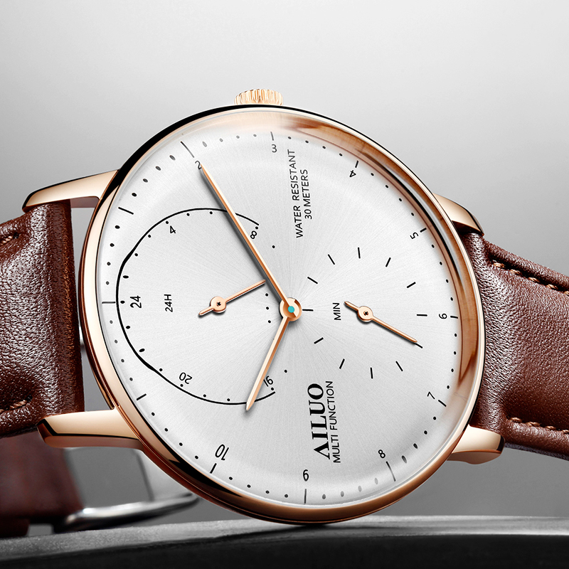 New FRANCE AILUO Men's' Watches Luxury Brand Ultra thin Watch Men Sapphire Waterproof reloj hombre Quartz Movement Clock A7606