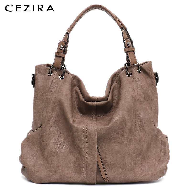 Cezira Brand Large Women's Leather Handbags High Quality Female Pu Hobos Shoulder Bags Solid Pocket Ladies Tote Messenger