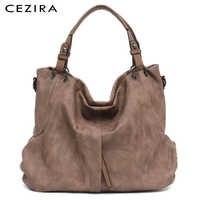 Cezira marca grande bolsas de couro feminino alta qualidade do sexo feminino pu hobos sacos de ombro bolso sólido senhoras tote sacos do mensageiro