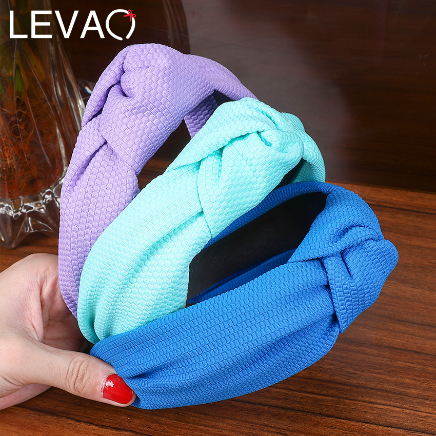 Levao Candy Color Bubble Cloth Hairband Hair Clasp Knotted Headband For Women 2019 New Cross Knot Hair Hoop Bezel Bands Headwear