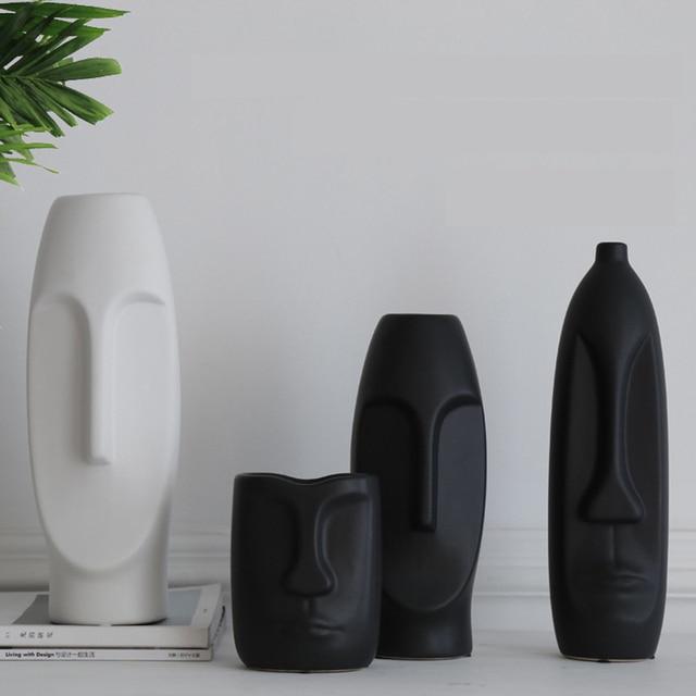 VILEAD More Size Ceramic Face Vase Figurines Creative Europe Ornament Living Room Study Porch Craft Home Decoration Accessories 6