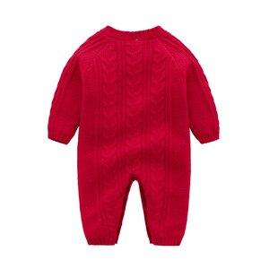 Image 3 - Śpioszki dla niemowląt dzianiny zimowe ciepłe noworodka Bebes kombinezony z długim rękawem stroje jednokolorowe niemowlę dziewczynki kombinezony dla dzieci chłopcy kostium