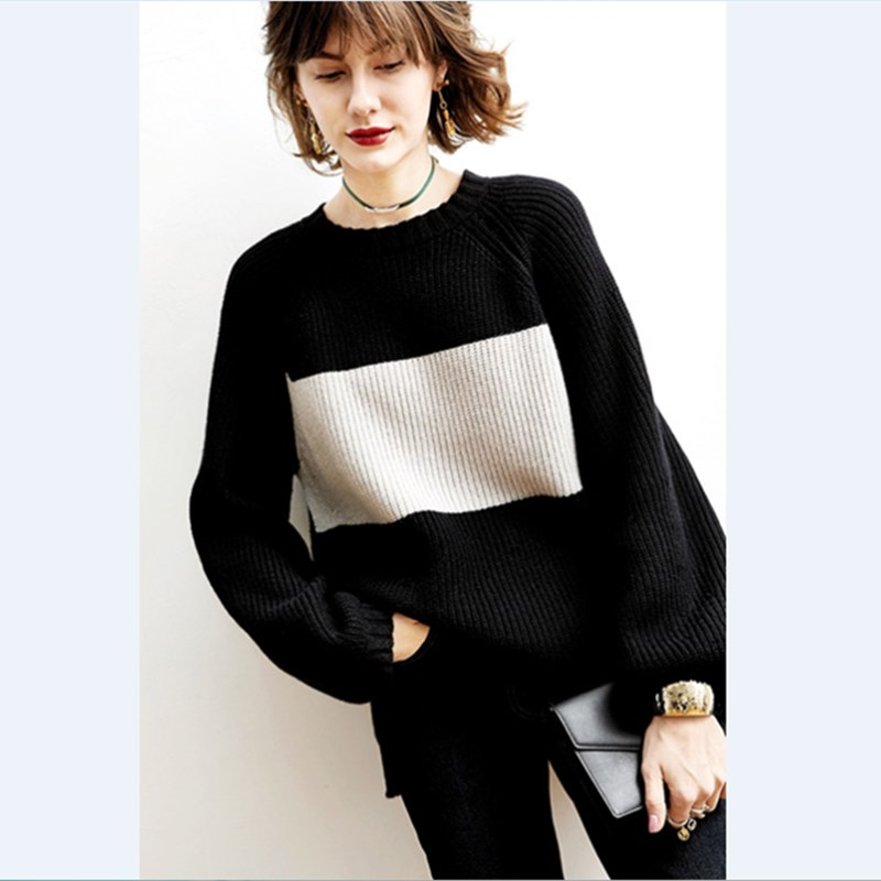 Pull femme pull tricot cachemire nouveau modèle ample auto-culture noir et blanc pull cachemire pull bottoming