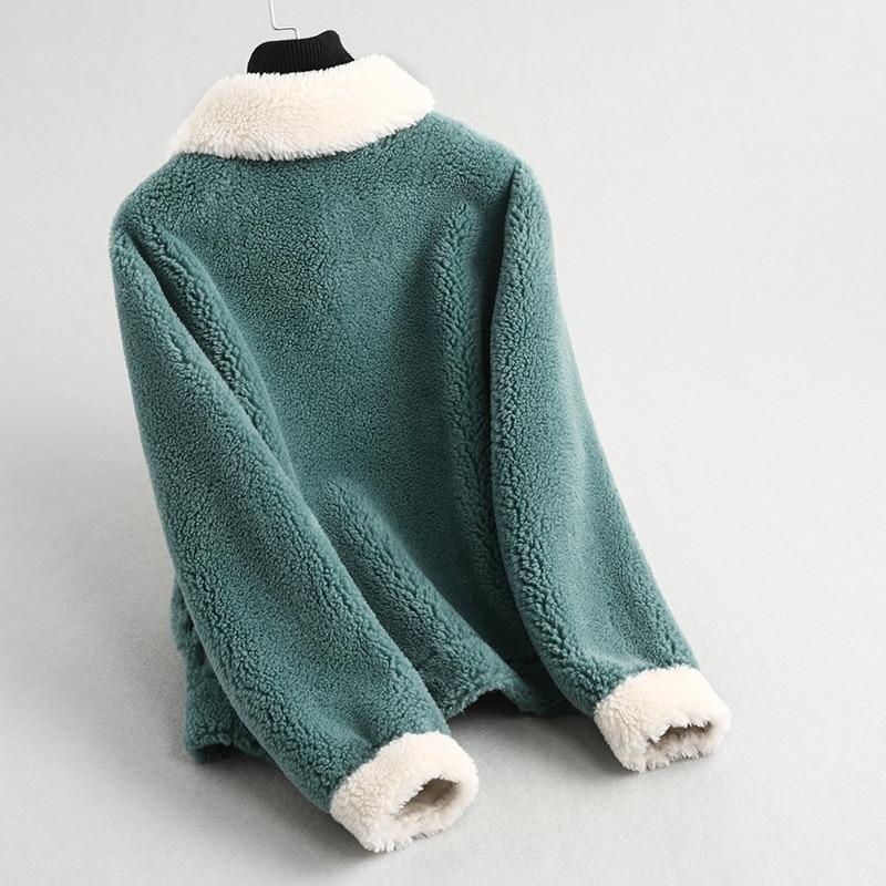 Real Fur Coat Winter Coat Women Clothes 2019 Korean Casual Fashion Elegant Short Wool Jacket Blue Vintage Overcoat 59370