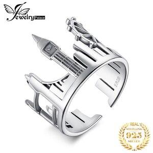 Image 1 - JewelryPalace Twin Towers Ringe 925 Sterling Silber Ringe für Frauen Öffnen Stapelbar Ring Band Silber 925 Schmuck Edlen Schmuck