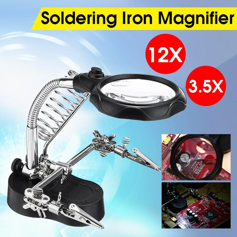 3.5X 12X Helping Hand Soldering Irons Stand Clip LED Light With 3 Tool Boxes Magnifying Glass Lens Desk Station Repair Tools