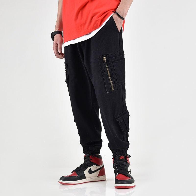 Japanese Style Fashion Men Jeans Loose Fit Multi Pockets Cargo Pants Black Khaki Gray Color Hip Hop Jeans Men Joggers Pants