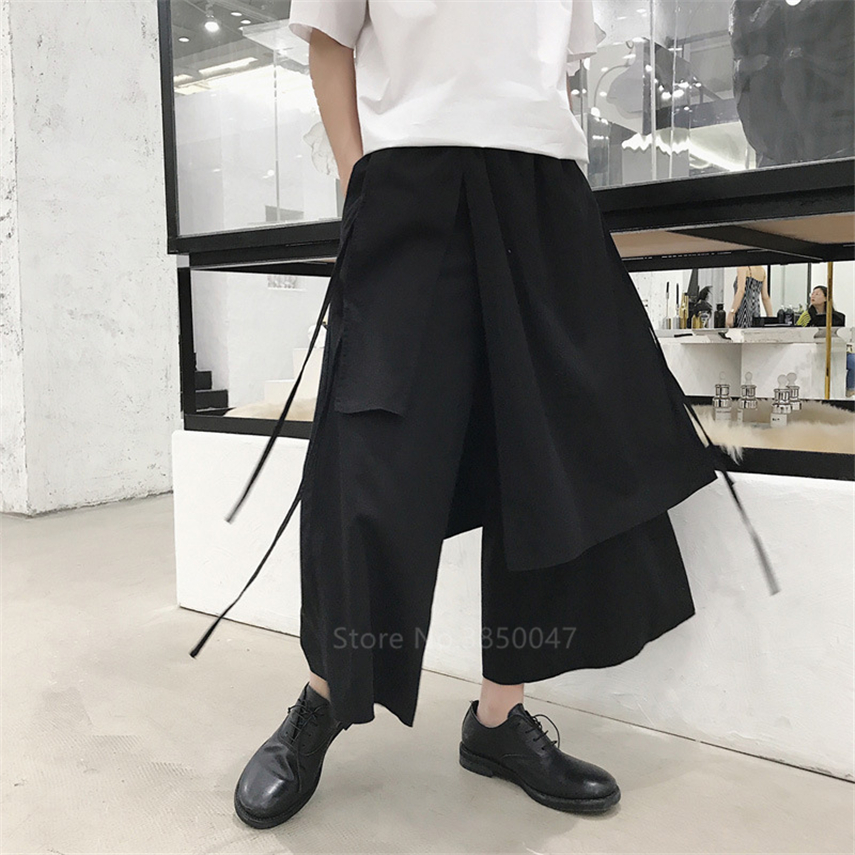 Japanese Harem Pants Men Vintage Loose Joggers Trousers Haori Cross-pants Crotch Pants Wide Leg Pants Samurai Costume Plus Size