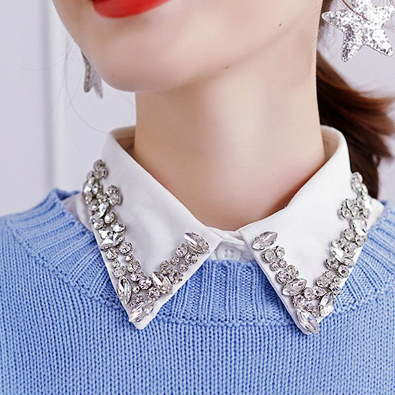 Jewelry Vintage Fake Collar Gorgeous Faux Crystal Rhinestone Lapel Half-Shirt M6CD