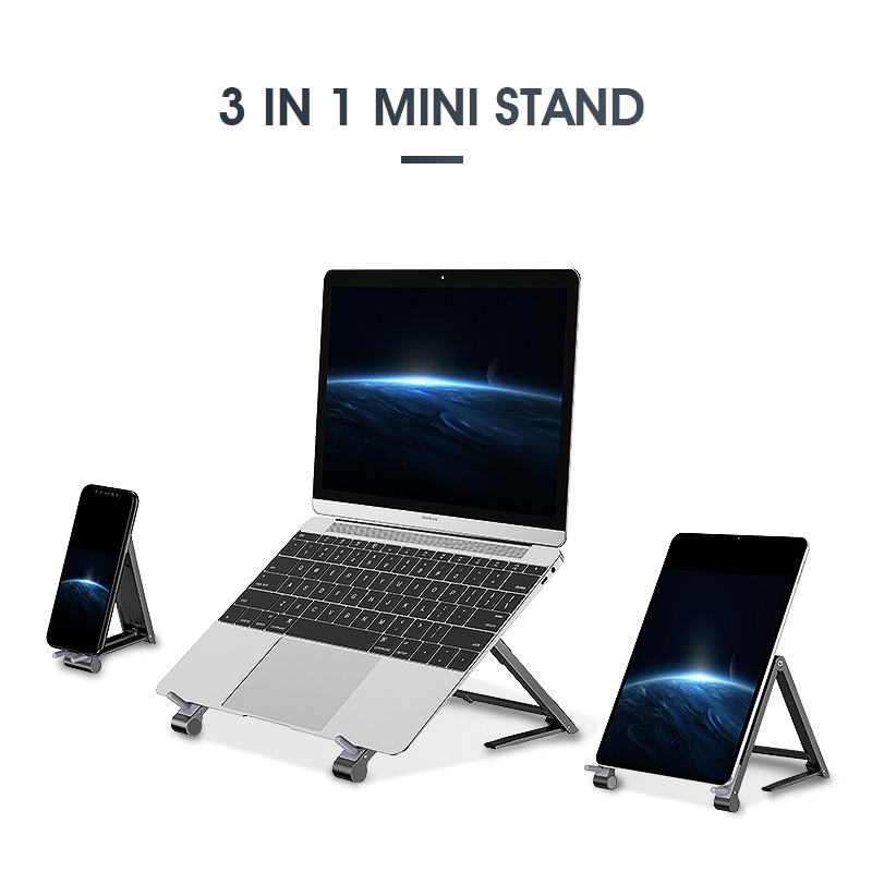 Mini Laptop Holder Adjustable Portable Phone Stand Support  3in1 Notebook Stand Holder For Macbook Pro Air