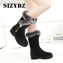 Nowe buty damskie zimowe dorywczo ciepłe futrzane buty do połowy łydki buty damskie Slip-On buty na płaskiej podeszwie z okrągłym noskiem buty śniegu buty mujer Plus rozmiar 35-41 tanie tanio SIZYBZ Flock Pasuje prawda na wymiar weź swój normalny rozmiar Okrągły nosek Zima Stałe Plac heel Krótki pluszowe