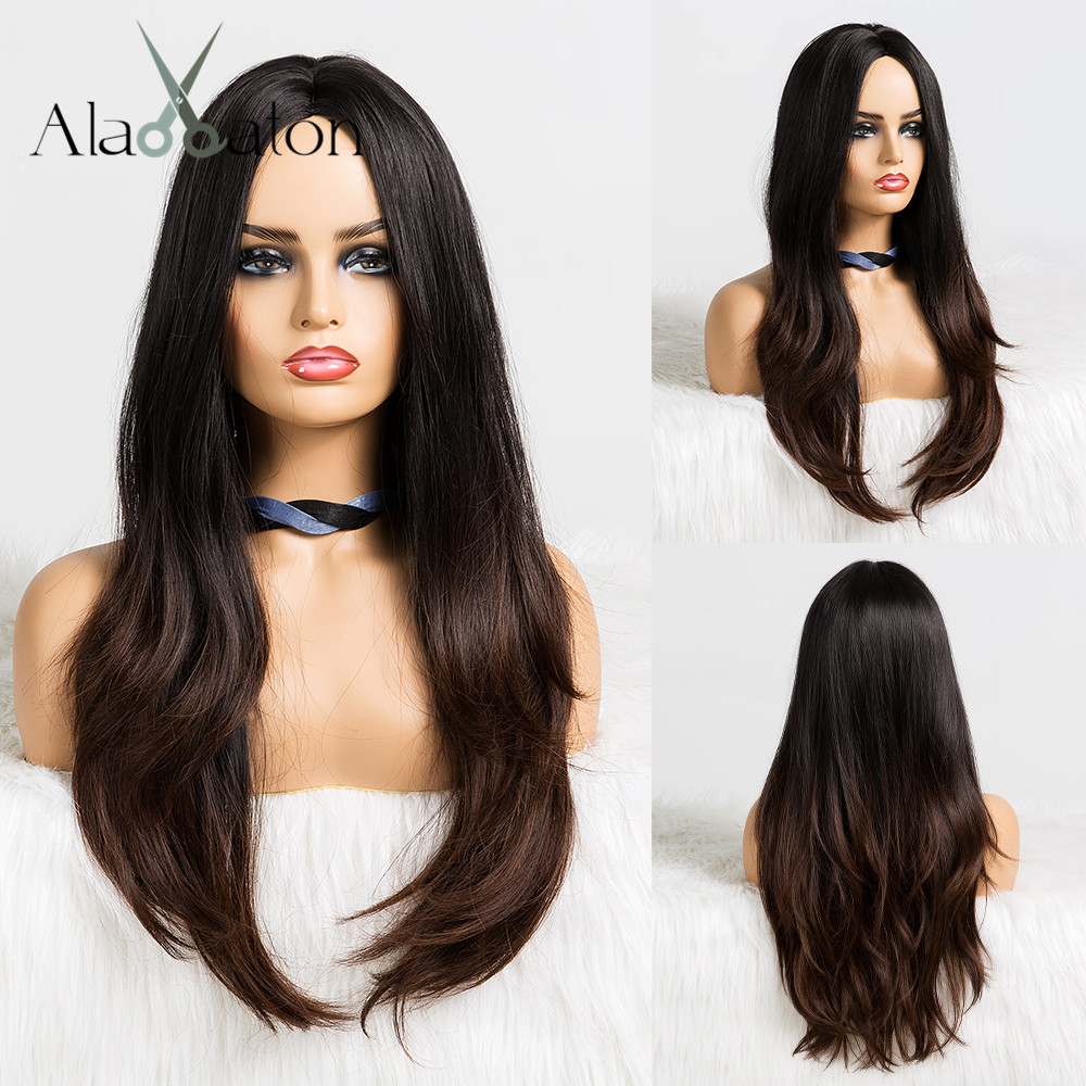 ALAN EATON Women Long Wavy Wig Cosplay Ombre Black Brown Heat Resistant Synthetic Hair Wigs Middle Part Cosplay Party Wigs