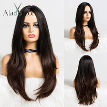 Длинный волнистый женский парик ALAN EATON, косплей, Омбре, черные, коричневые термостойкие синтетические волосы, парики для косплея средней части, парики для вечеринки
