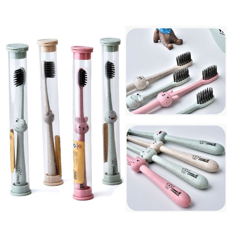 Brosse à dents pour enfants 1 pièce | Poignée de dessin animé pour bébé brosse à charbon de bambou orale, soins paille de blé naturel dégradable