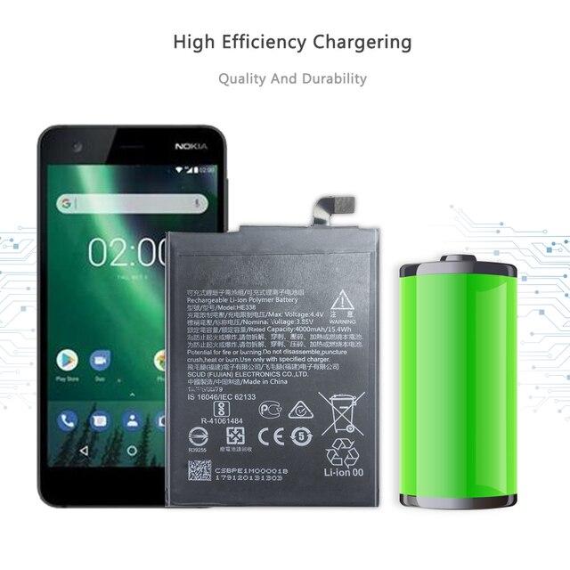 Batterie de téléphone portable pour Nokia 2 Nokia2 batterie de remplacement HE338 4000mAh
