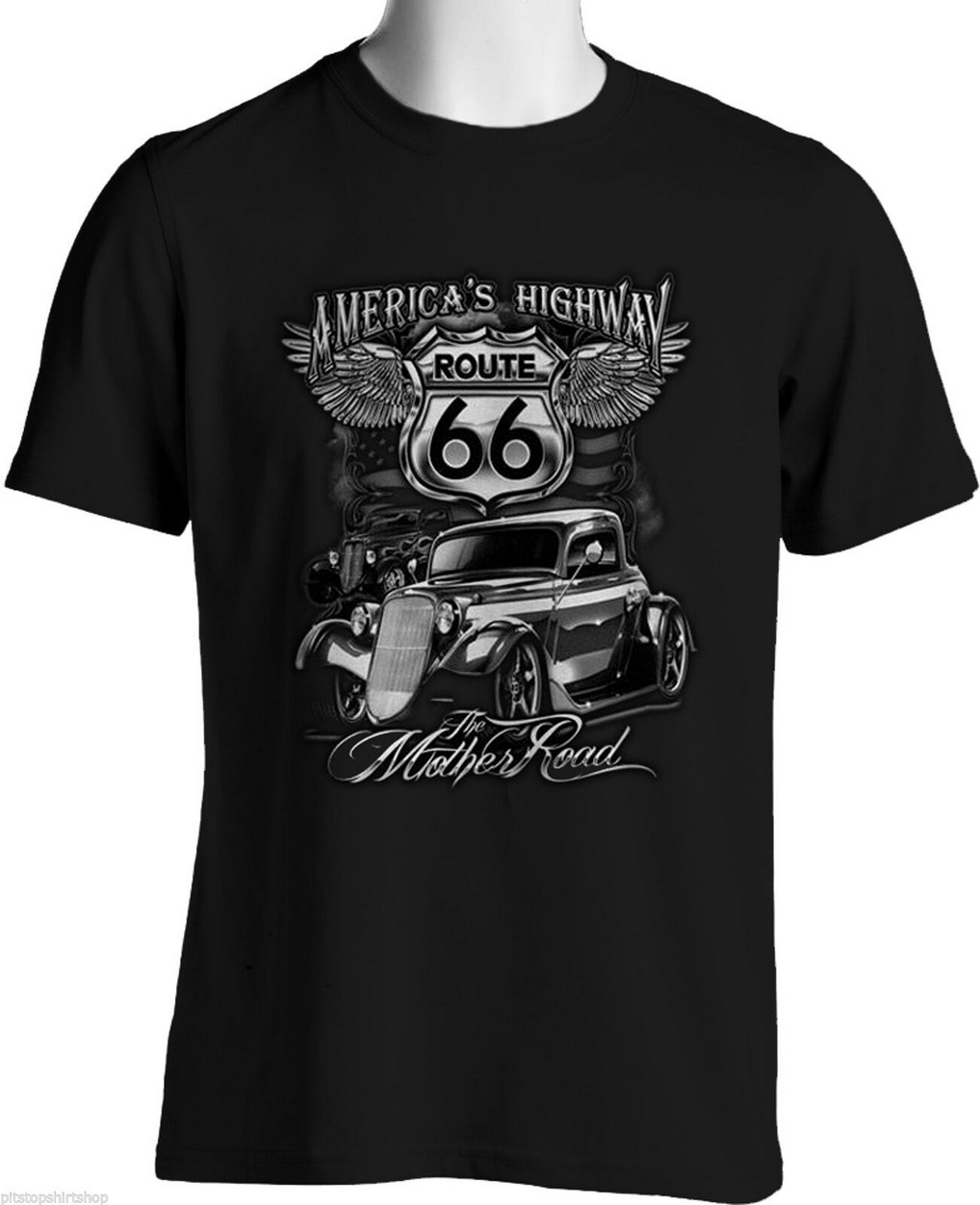 <font><b>Route</b></font> <font><b>66</b></font> <font><b>T</b></font> <font><b>Shirts</b></font> Rat Rod Mother Road Hot Rods Souvenir Mens Small To 6XL & Tall Printing Men Tops TEE <font><b>Shirt</b></font> image