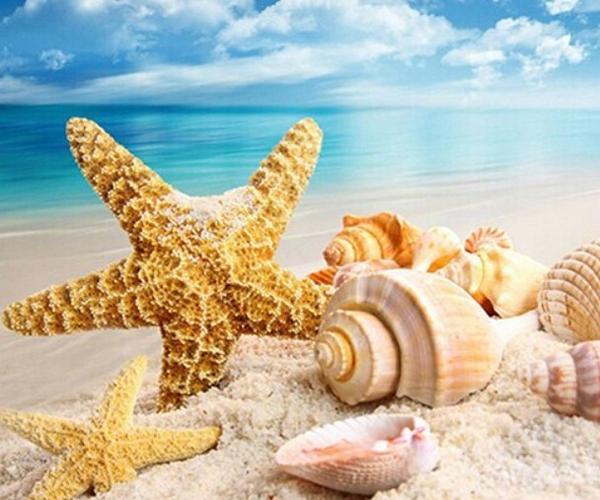 5D DIY Diamond Sea Beach Starfish Conch Landscape Diamond Painting Cross Stitch Square Drill Mosaic Rhinestone Decoration Paint