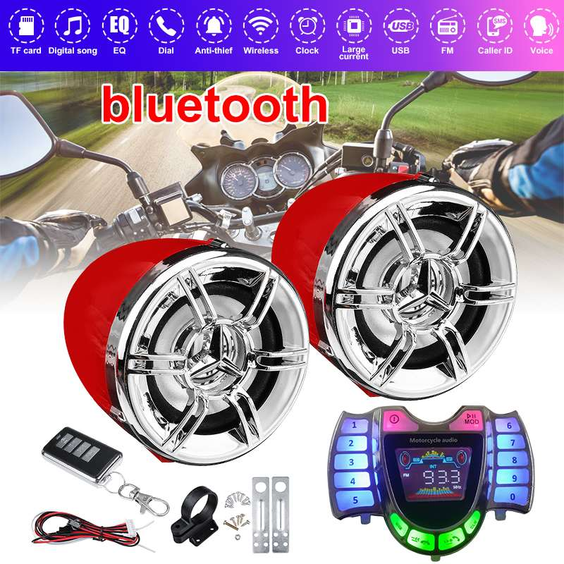 Bluetooth motosiklet stüdyo ses ses sistemi Stereo hoparlör FM radyo MP3 müzik çalar Anti-theft Alarm sistemi uzaktan kumanda