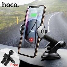 HOCO Qi Беспроводное Автомобильное зарядное устройство Автоматическая Инфракрасная клипса вентиляционное отверстие автомобильный держатель телефона 10 Вт быстрое зарядное устройство для iphone XS Max XR