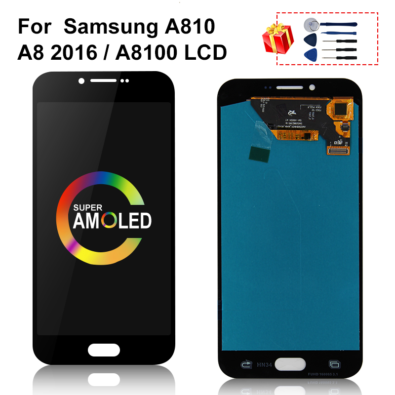 AMOLED For <font><b>Samsung</b></font> Galaxy <font><b>A810</b></font> A8 2016 <font><b>LCD</b></font> Touch Screen Digitizer Display Replacement Parts For A810F A810DS <font><b>LCD</b></font> Display image