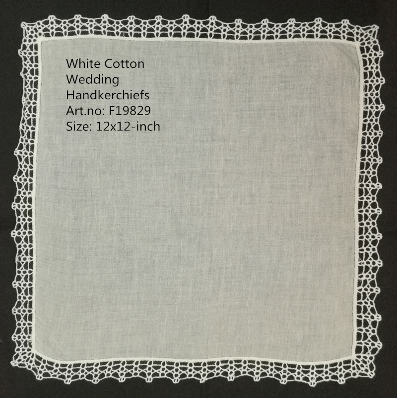 Set Of 12 Fashion Wedding Bridal Ladies Cotton Handkerchiefs Vintage Crochet Lace Hankies Mother Of The Bride Hanky 12x12-inch