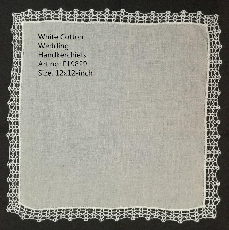 Set Of 12 Fashion Wedding Bridal Ladies Cotton Handkerchiefs Vintage Crochet Lace Hankies Mother Of The Bride Hanky 12x12-inch