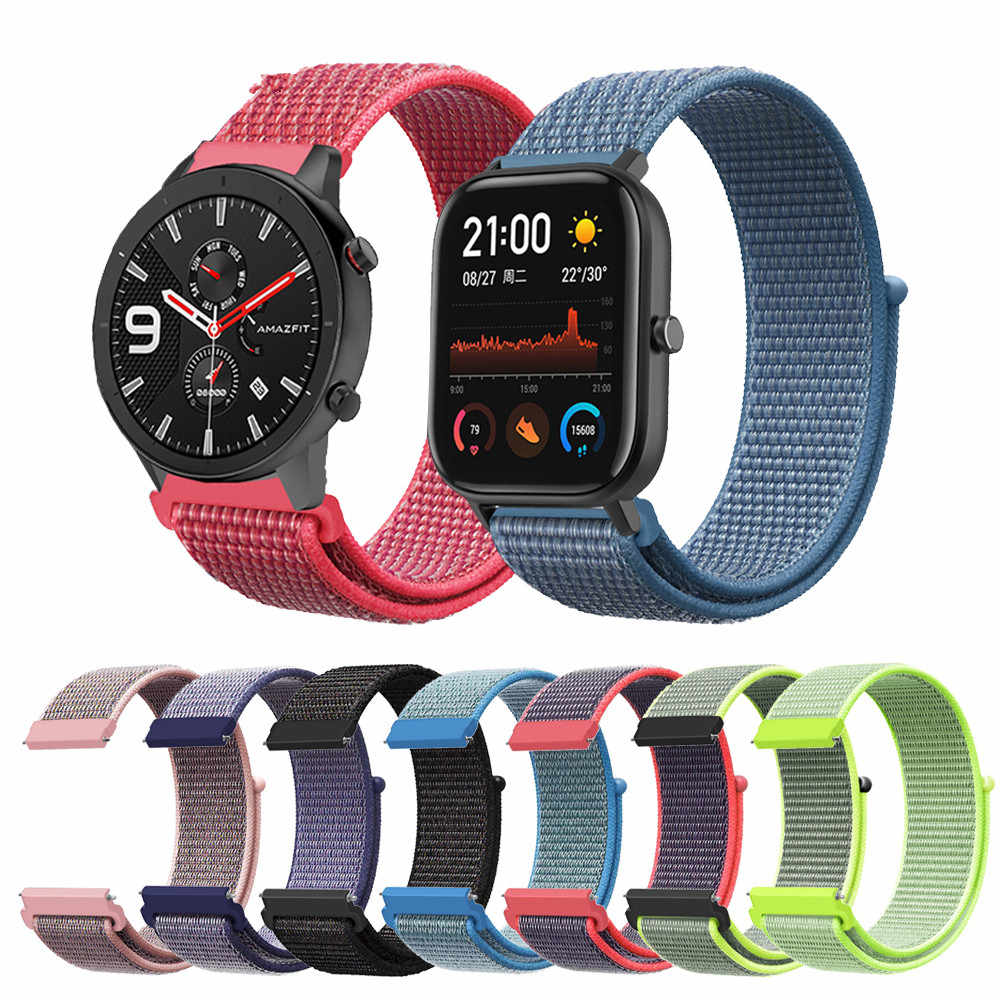 20mm 22mm Nylon Sport Loop Strap Replacement Band For xiaomi Huami strap Amazfit GTS/GTR 42mm 47mm/ Amazfit Bip watchbands