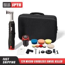 Lucidatrice SPTA Cordless Mini Car, 12V RO/DA Micro graffi Killer con 1 batteria, tampone di lucidatura, tampone di lana per lucidatura, levigatura