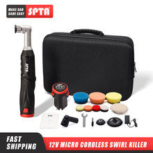 SPTA Cordless Mini Car Polisher, 12V RO/DA Micro Scratches Killer With 1 Battery, Polishing Pad, Wool Pad for Polishing, Sanding