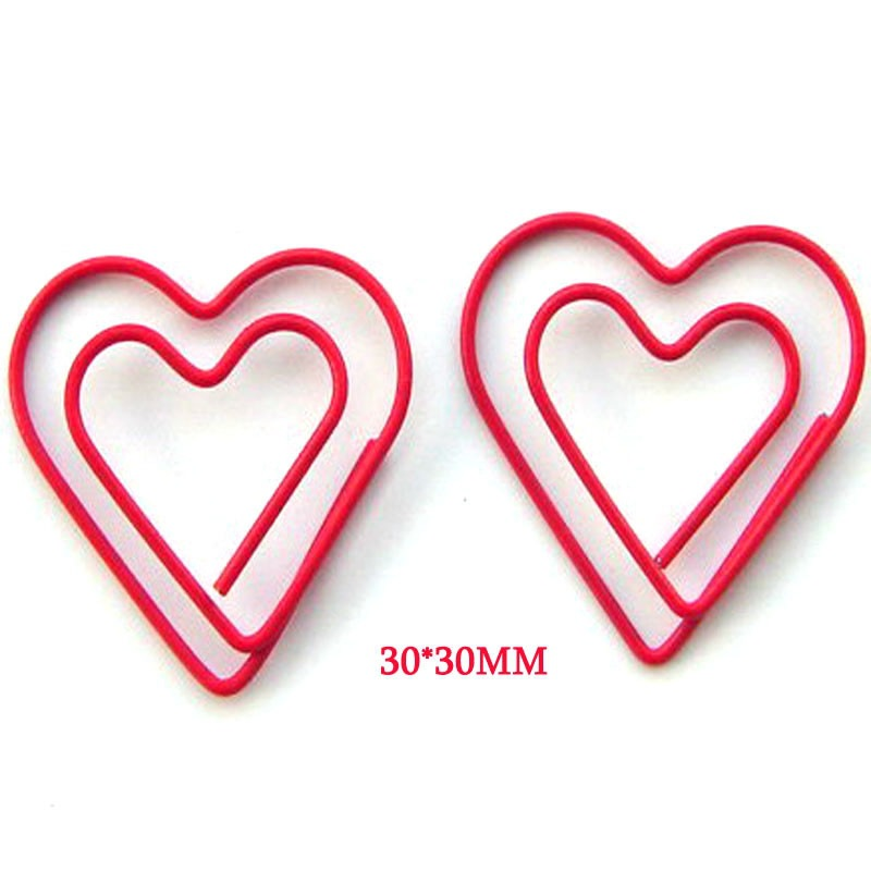 Wholesale 500pcs Heart Paperclip Cute Metal Love Heart Paper Clip Memo Clips Decorative Office Accessories Kawaii Stationery