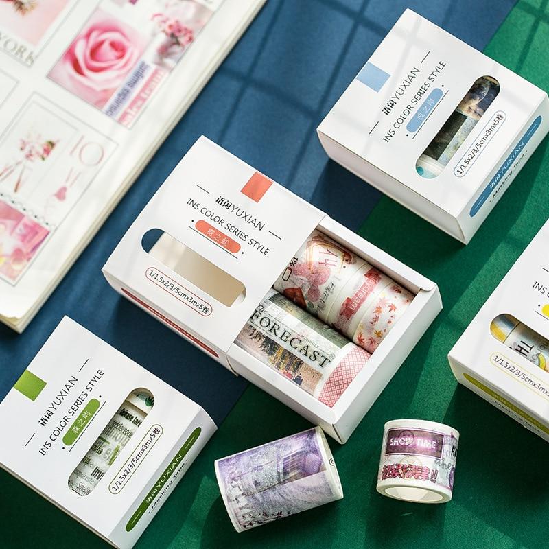 JIANWU 5pcs/set Natural Style Washi Tape Scrapbook DIY Basic Decor Masking Tape School Stationery Store Bullet Journal Supplies