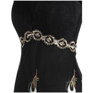 Image 4 - מלאך אופנת נשים של קו V צוואר טווס רקמת שמלות ערב ארוך מפלגה שמלת 469