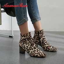 ANMAIRON 2019 Winter Boots Women Faux Suede Slim Basic Square Heel Round Toe Animal Prints Shoes Size 34-43