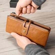 Винтажный кожаный женский кошелек для мужчин и женщин, Длинный кошелек на молнии, кожаный кошелек RFID для монет, клатч с держателем для мобильного телефона