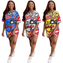 Scrawl Cartoon Letter Lips Printed Maxi Tshirt Dress Mini Loose Ropa Mujer Graffiti Streetwear Casual Robe Femme Hip Hop Zanzea