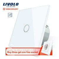 Livolo الاتحاد الأوروبي زر تبديل جداري قياسية 2 طريقة التحكم مفاتيح شاشة لمس ، الكريستال والزجاج لوحة ، 220 250 فولت ، VL C701S 1/2/3/5-في مفاتيح من مصابيح وإضاءات على